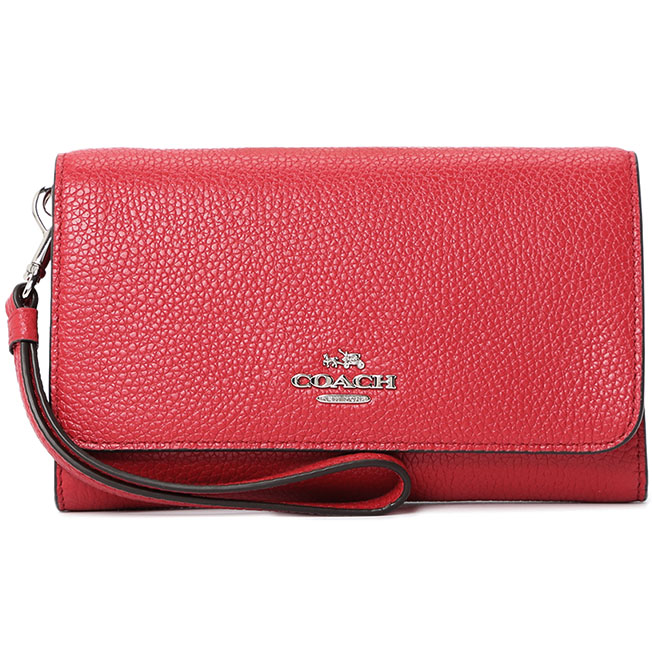 Coach Phone Clutch In Polished Pebble Leather Silver / Red # 16115B