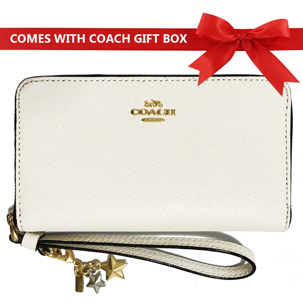 Coach Phone Wallet In Gift Box Phone Wallet With Charms Chalk White / Gold # F29943