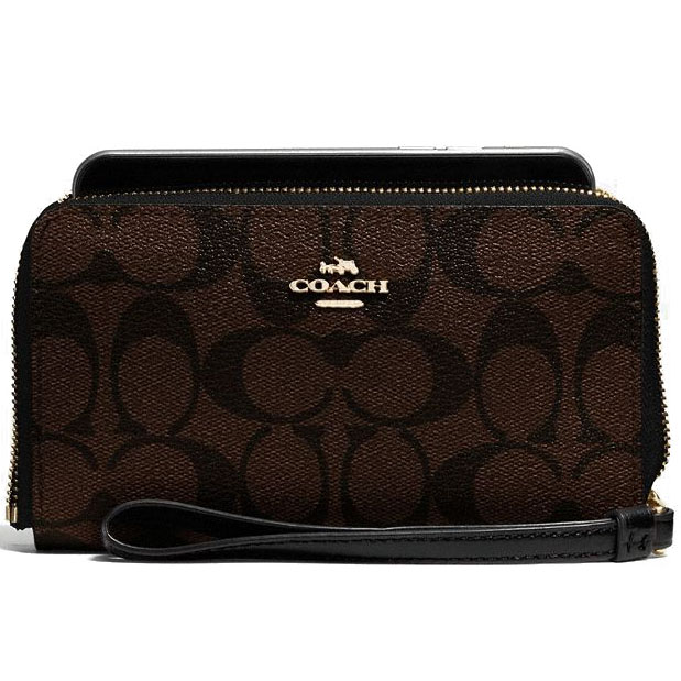 Coach Phone Wallet In Signature Coated Canvas Gold / Brown / Black # F57468