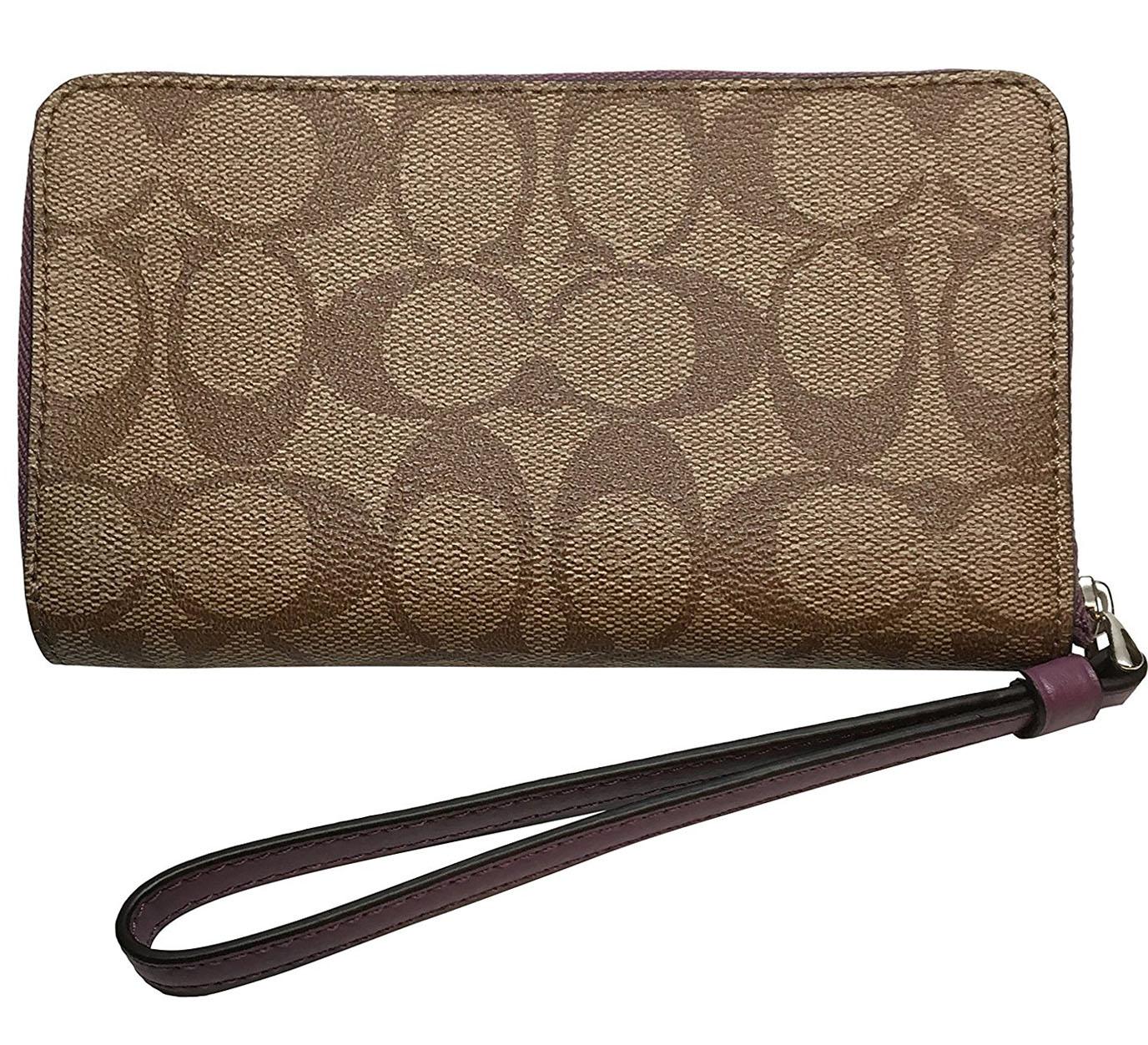 Coach Phone Wallet In Signature Coated Canvas Khaki Oxblood   F57468 a62c0aa2e875f