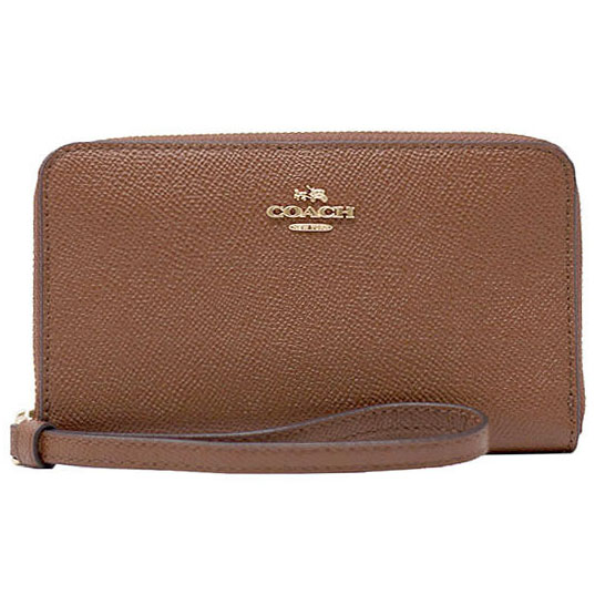 Coach Phone Wallet Light Gold / Saddle Brown 2 # F58053