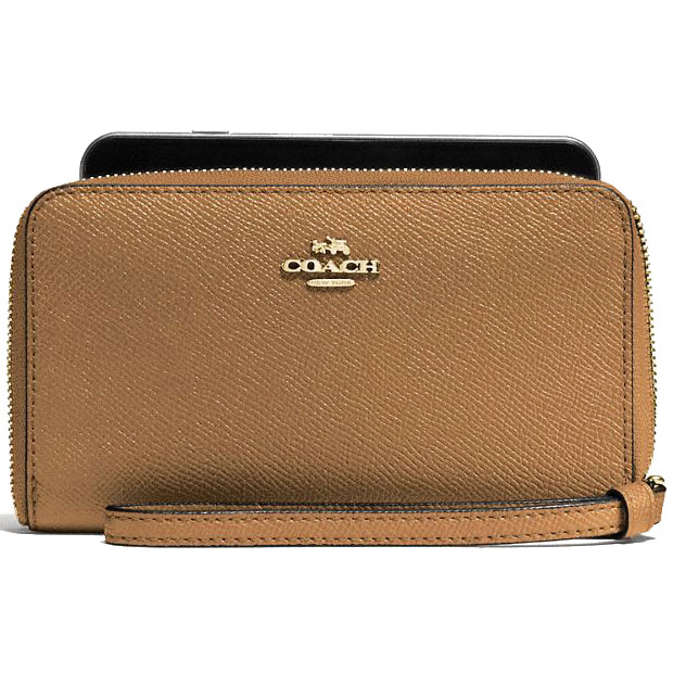 Coach Phone Wallet Light Saddle Brown # F58053