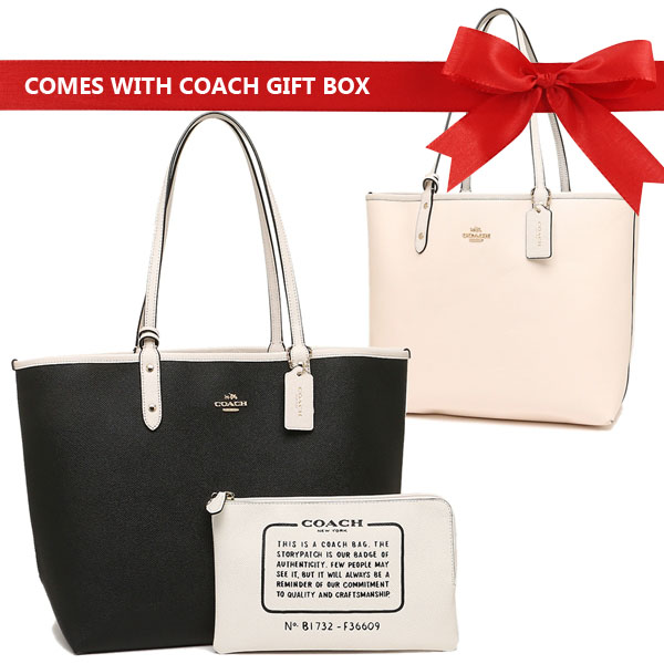 Coach Reversible City Tote In Coated Canvas Black / Chalk White # F36609