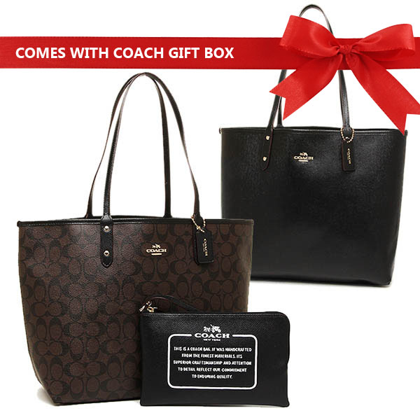 Coach Reversible City Tote In Signature Black / Brown # F36658