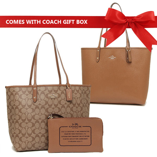 Coach Reversible City Tote In Signature Khaki / Saddle Brown # F36658