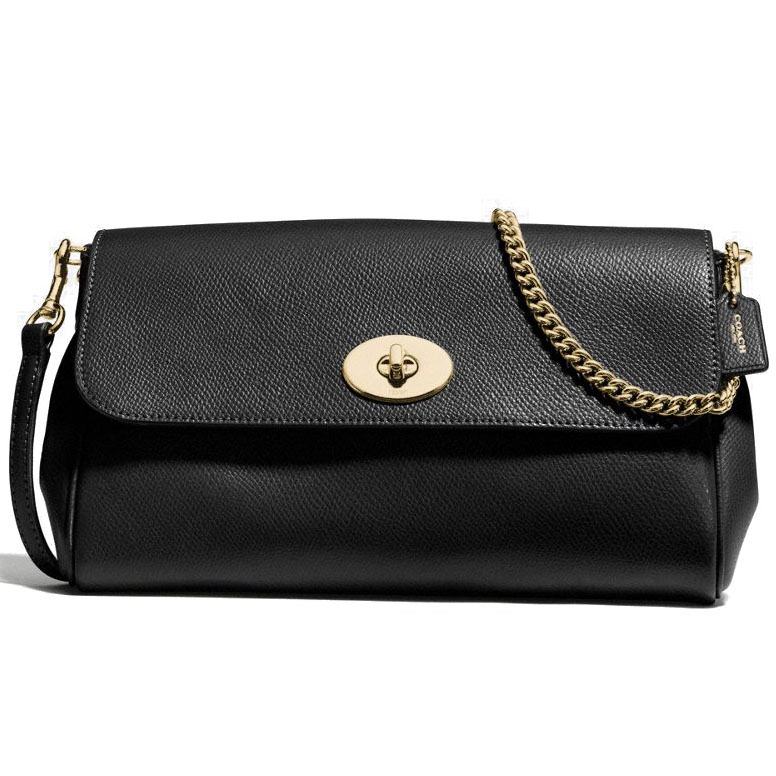 Coach Ruby Crossbody In Crossgrain Leather Gold / Black # F57528