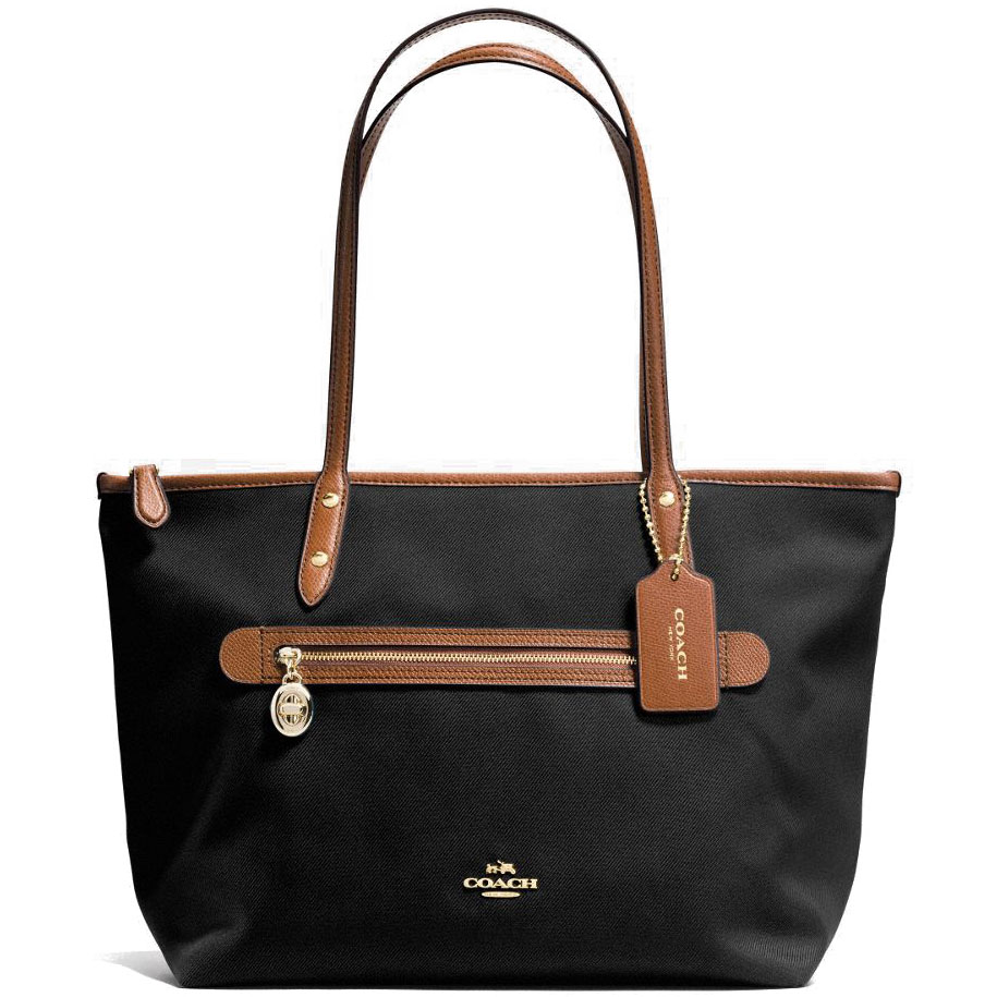 Coach Sawyer Tote In Polyester Twill Tote Shoulder Bag Black # F37237