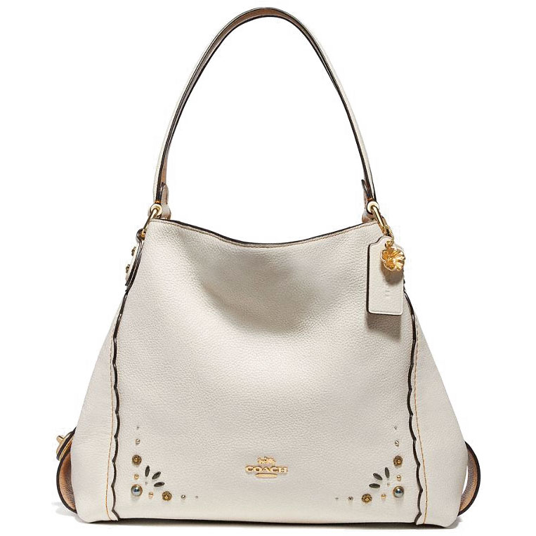 Coach Shoulder Bag Edie Shoulder Bag 31 With Prairie Rivets Detail Chalk White / Gold # 29336
