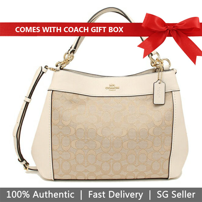 Coach Shoulder Bag In Gift Box Small Lexy Shoulder Bag In Signature Jacquard Light Khaki / Chalk White # F29548