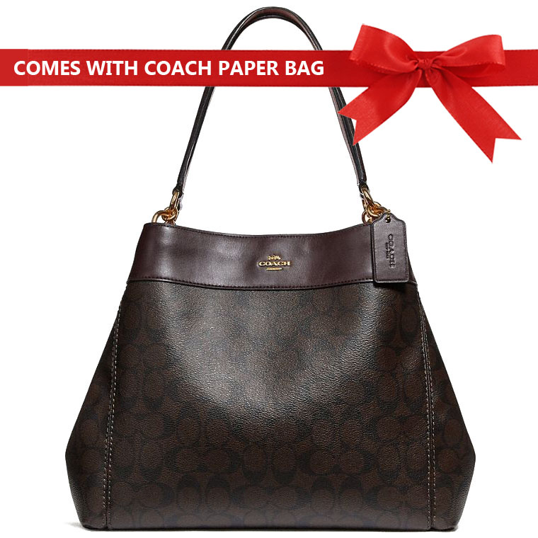 Coach Shoulder Bag Lexy Shoulder Bag In Signature Canvas Brown / Oxblood / Gold # F27972