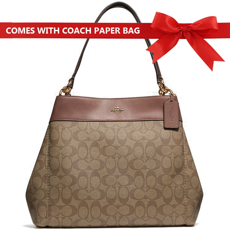 Coach Shoulder Bag Lexy Shoulder Bag In Signature Canvas Khaki / Saddle Brown 2 / Gold # F27972