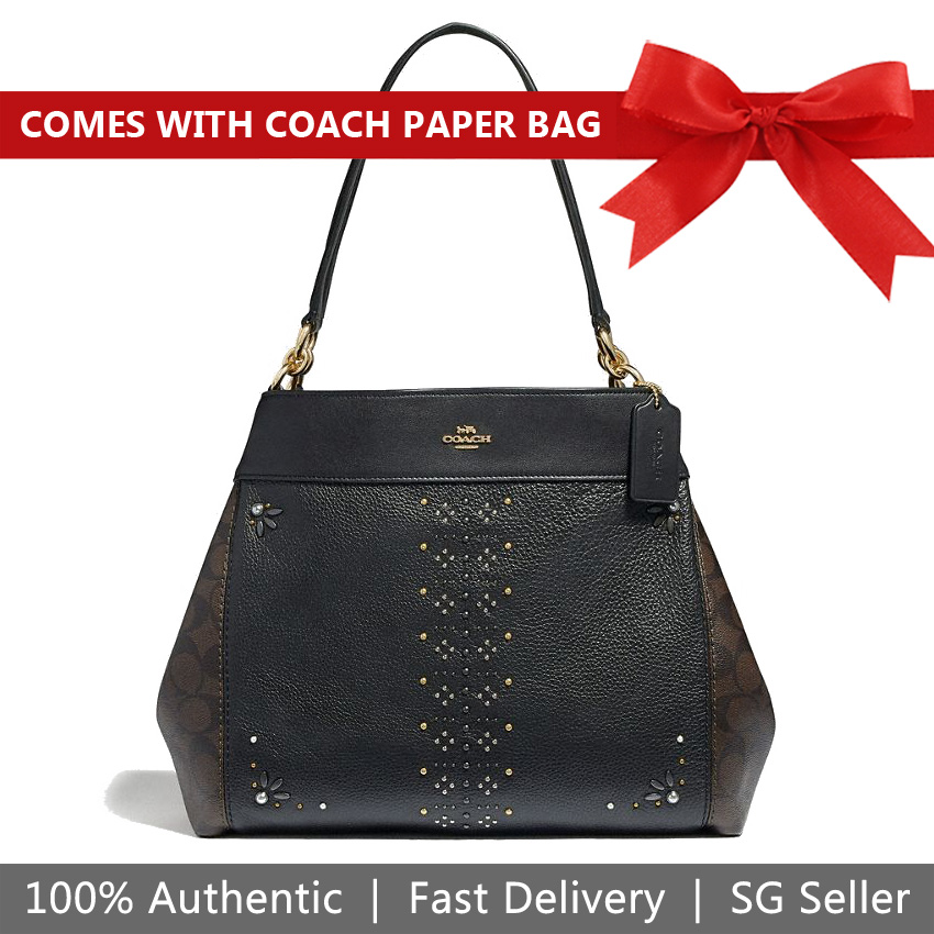 Coach Shoulder Bag Tote Lexy Shoulder Bag In Signature Canvas With Rivets Brown / Black / Gold # F32977