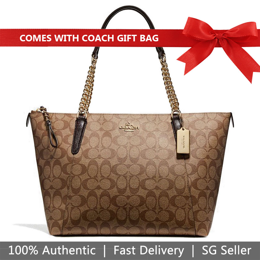 Coach Shoulder Bag With Gift Bag Ava Chain Tote Khaki / Oxblood # F23526