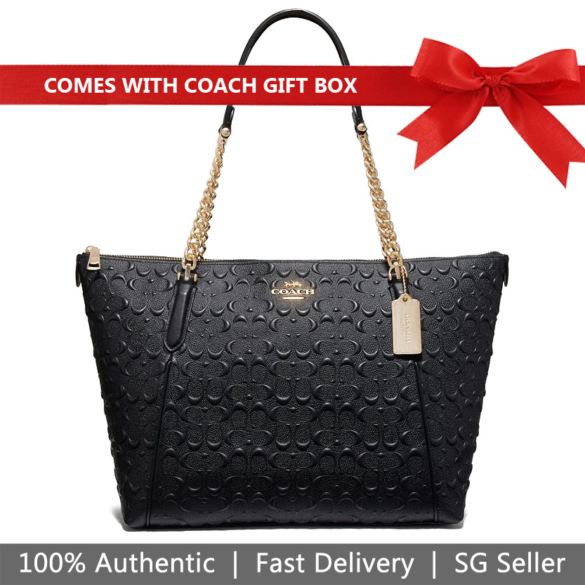 Coach Shoulder Bag With Gift Bag Ava Chain Tote In Signature Leather Black # F49499