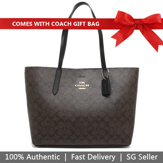 Coach Shoulder Bag With Gift Bag Avenue Tote In Signature Canvas Brown / Black # F67108