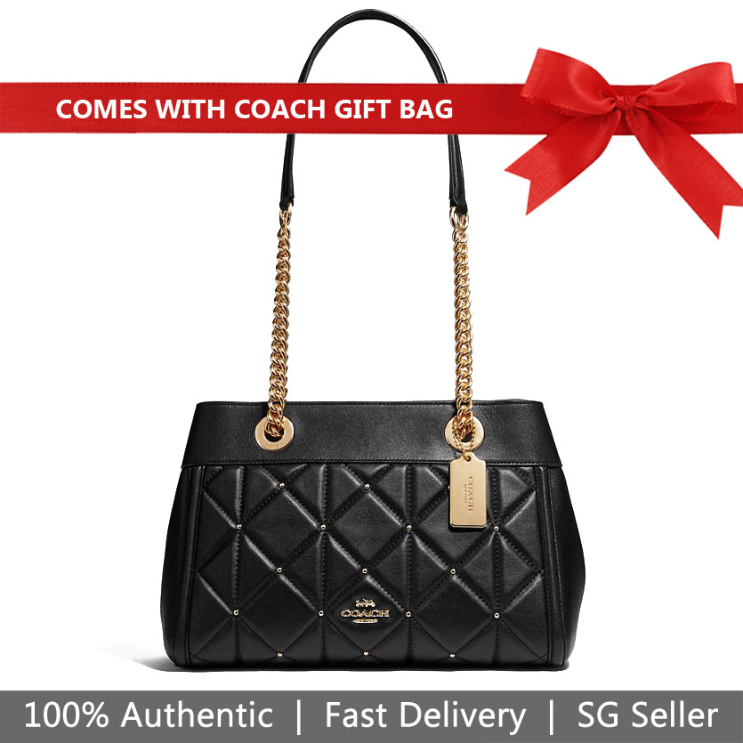 Coach Shoulder Bag With Gift Bag Brooke Chain Carryall With Studded Diamond Quilting Black # F38071