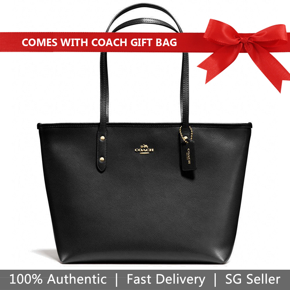 Coach Shoulder Bag With Gift Bag City Zip Tote In Crossgrain Leather Black # F58846