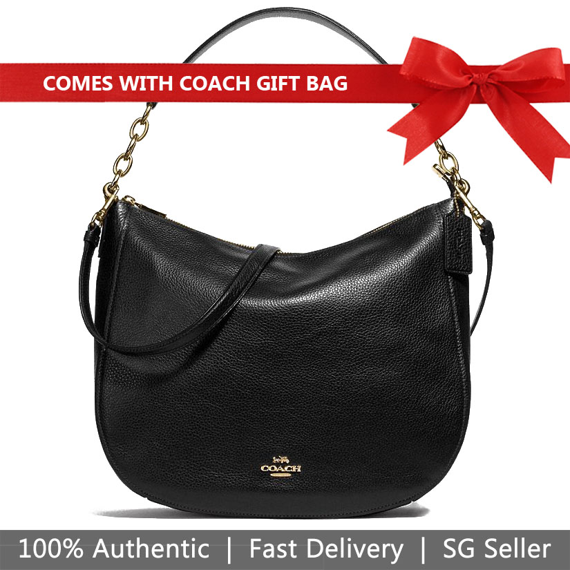 Coach Shoulder Bag With Gift Bag Elle Hobo Crossbody Bag Black # F31399
