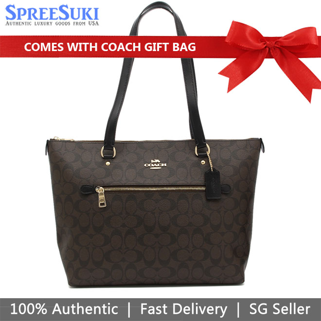 Coach Shoulder Bag With Gift Bag Gallery Tote In Signature Canvas Brown / Black # F79609