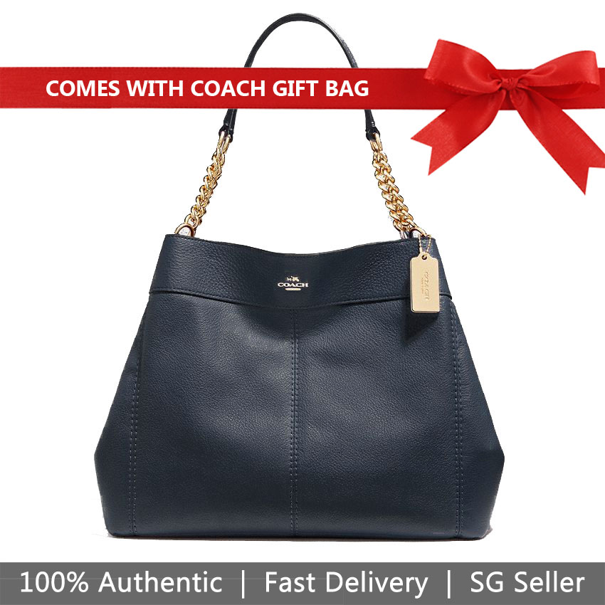 Coach Shoulder Bag With Gift Bag Lexy Chain Shoulder Bag Midnight Dark Blue / Gold # F27594