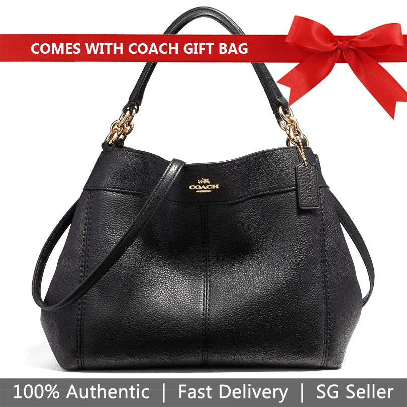Coach Shoulder Bag With Gift Bag Small Lexy Shoulder Bag Crossbody Bag Black / Gold # F23537