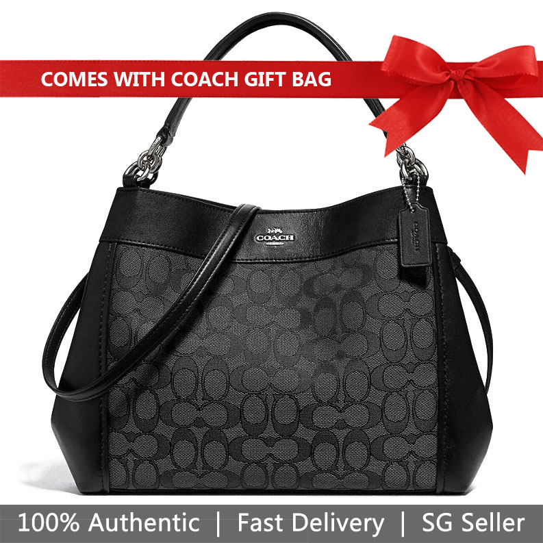 Coach Shoulder Bag With Gift Bag Small Lexy Shoulder Bag In Signature Jacquard Black Smoke / Silver # F29548