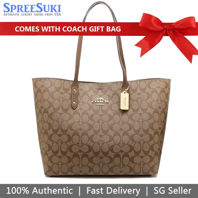 Coach Shoulder Bag With Gift Bag Town Tote In Signature Canvas Khaki / Saddle Brown # F76636