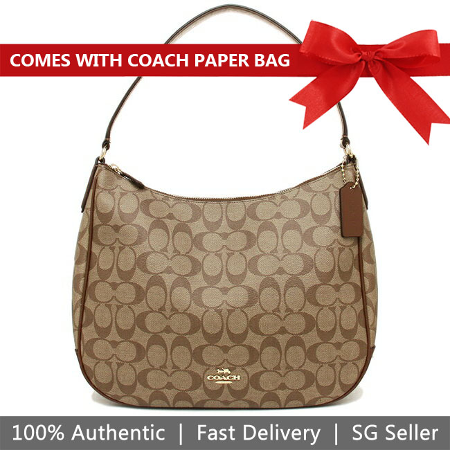 Coach Shoulder Bag With Gift Bag Zip Shoulder Bag In Signature Canvas Khaki / Saddle Brown / Gold # F29209