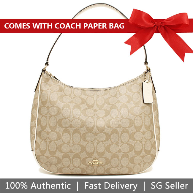 Coach Shoulder Bag With Gift Bag Zip Shoulder Bag In Signature Canvas Light Khaki / Chalk White # F29209