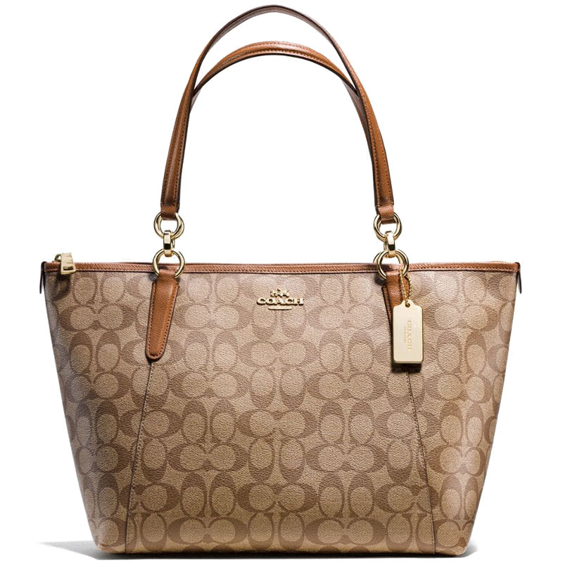 Coach Signature Ava Tote Khaki / Saddle Brown # F58318