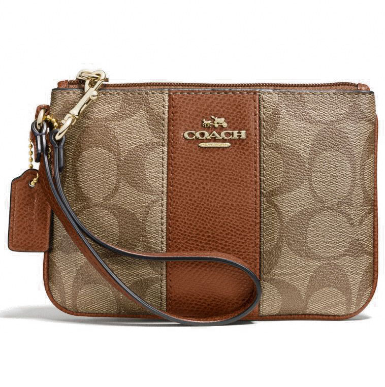 Coach Signature Canvas Small Wristlet With Leather Saddle / Khaki / Brown # F52860