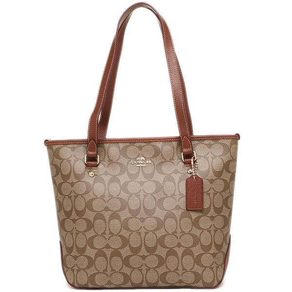 Coach Signature Canvas Zip Top Tote Saddle Brown / Khaki / Brown # F34603