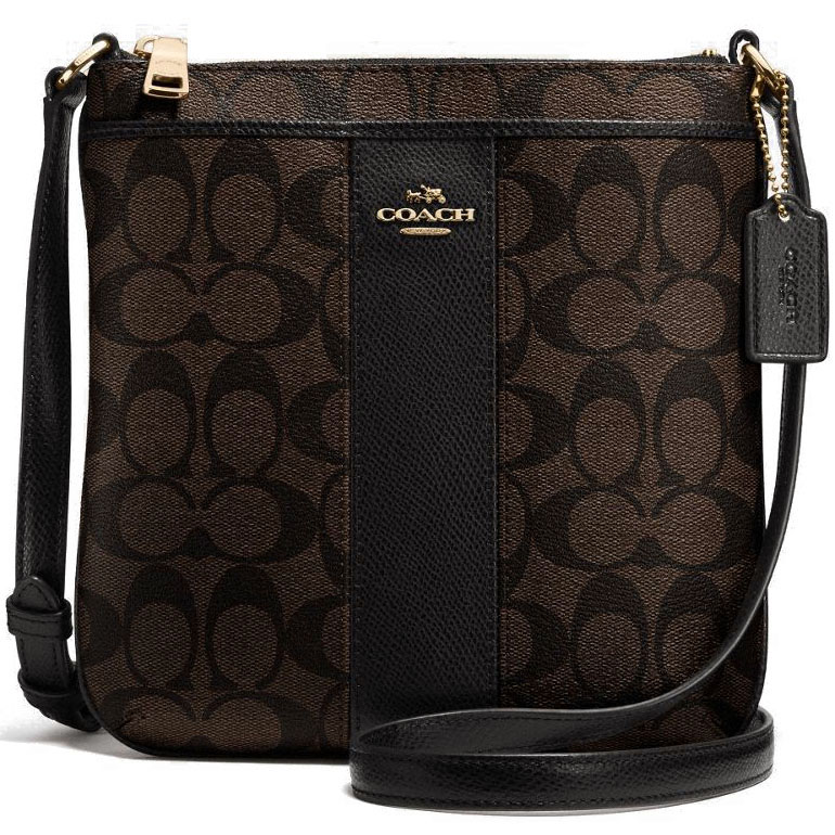Coach Signature Coated Canvas With Leather North/South Crossbody Bag Black / Brown # F52856
