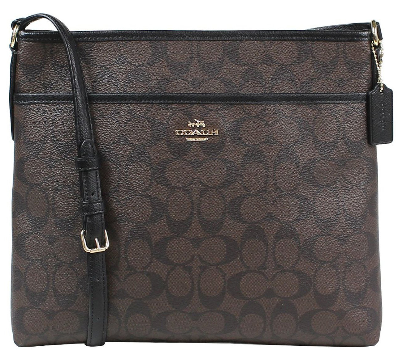 Coach Signature File Bag Crossbody Black / Brown # F34938