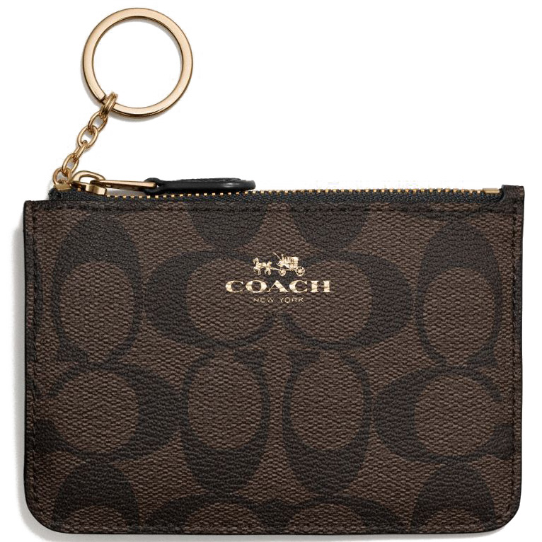 Coach Signature Key Pouch With Gusset Black / Brown # F63923
