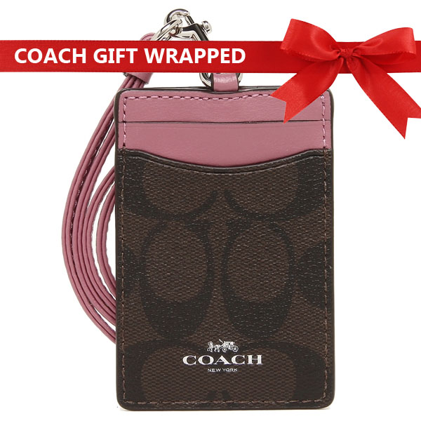 Coach Signature Lanyard Id Case With Gift Wrap Silver / Brown / Azalea Purple # F63274