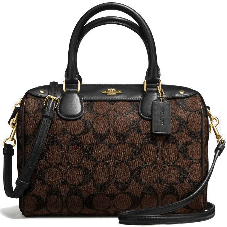 Coach Signature Mini Bennett Satchel Crossbody Bag Black / Brown # F58312