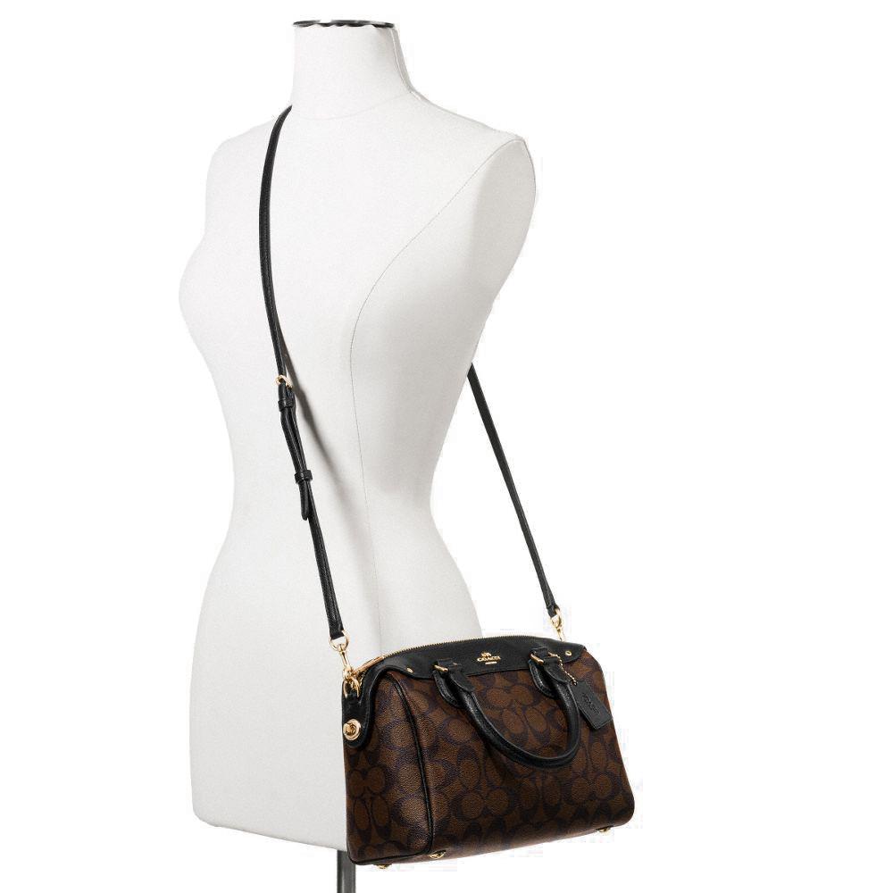 190ca7fc41fb discount code for coach signature mini bennett satchel black brown f36702  ef2e4 280ed