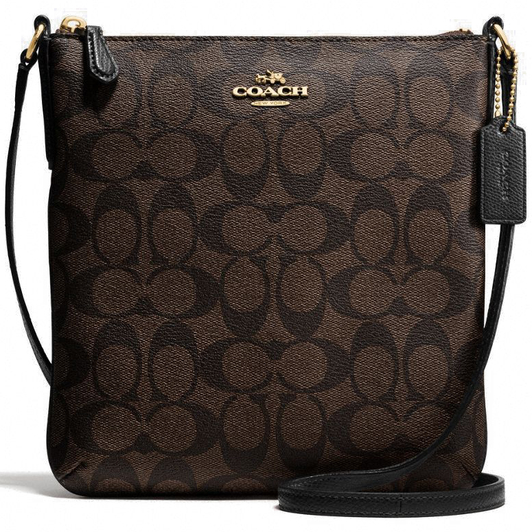 Coach Signature North / South Crossbody Bag Black / Brown # F35940