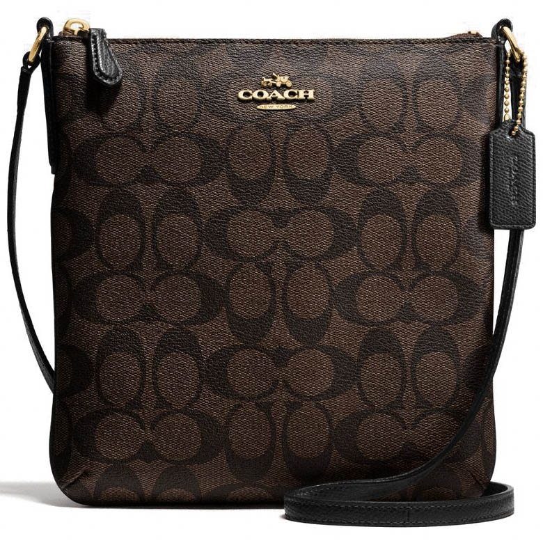 Coach Signature North / South Crossbody Bag Black / Brown / Gold # F58309
