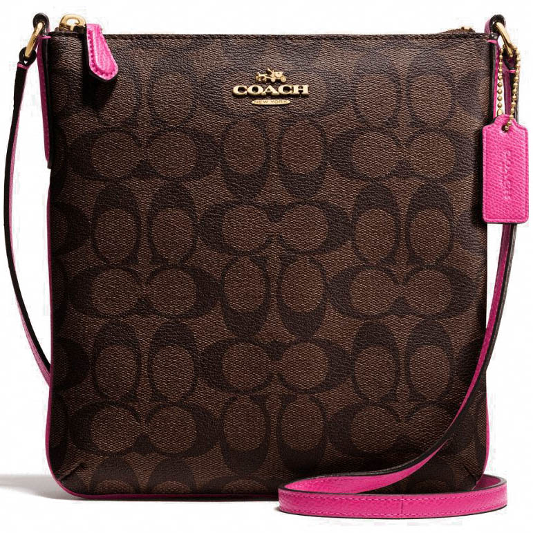 Coach Signature North / South Crossbody Bag Brown / Pink Ruby # F35940