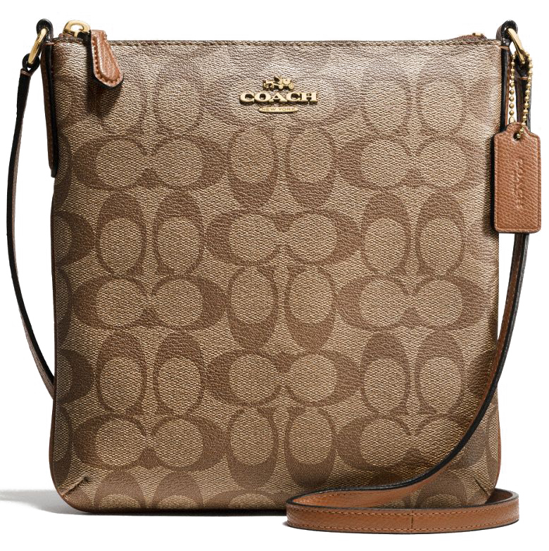 Coach Signature North / South Crossbody Bag Khaki / Saddle # F35940