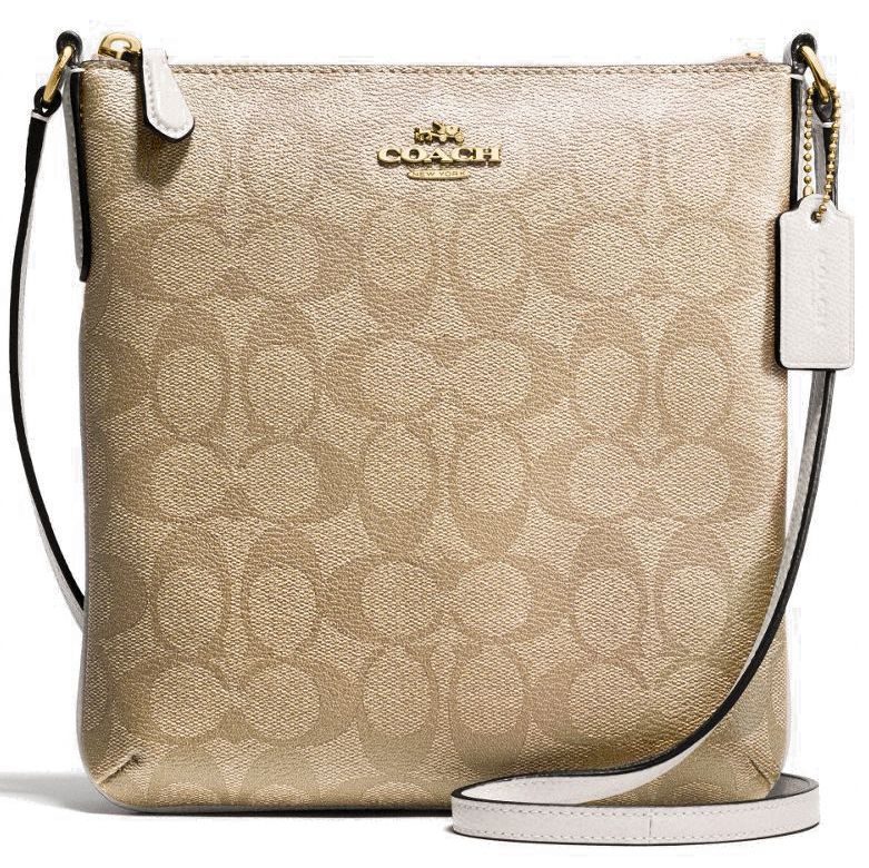 Coach Signature North / South Crossbody Bag Light Khaki / Chalk # F35940