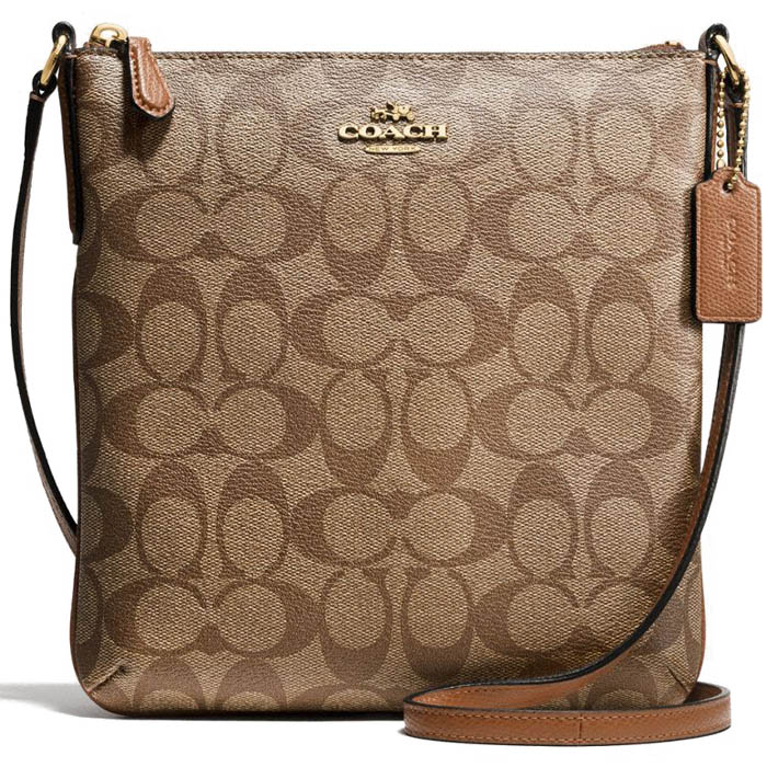Coach Signature North / South Crossbody Bag Saddle Brown / Khaki / Gold # F58309