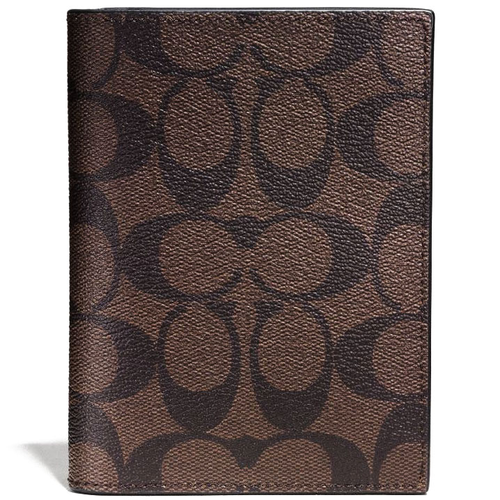 Coach Signature Passport Case Mahogany Brown # F93518