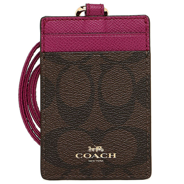 Coach Signature Pvc Lanyard Id Brown / Fuschia / Gold # F63274