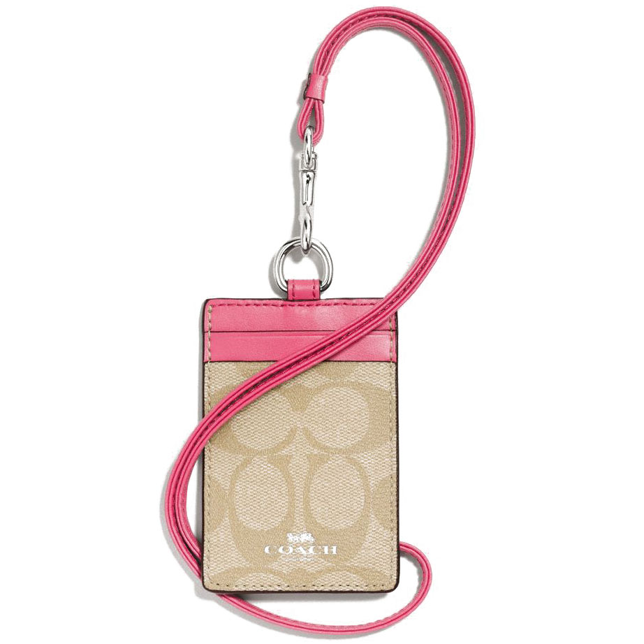 Coach Signature Pvc Lanyard Id Light Khaki / Strawberry # F63274