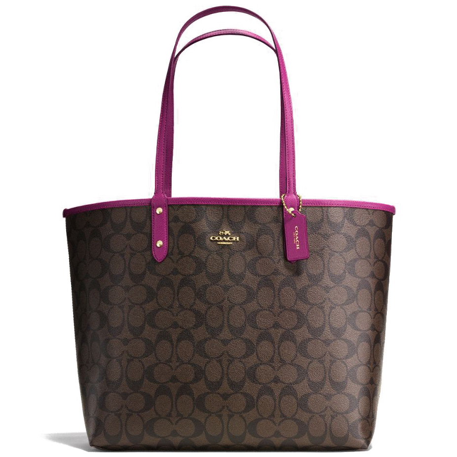 Coach Signature Reversible City Tote Shoulder Bag Brown / Fuchsia / Gold # F36658