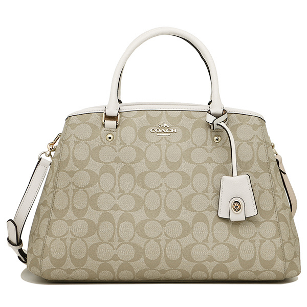 Coach Signature Small Margot Carryall Crossbody Bag Light Khaki / Chalk White # F34608