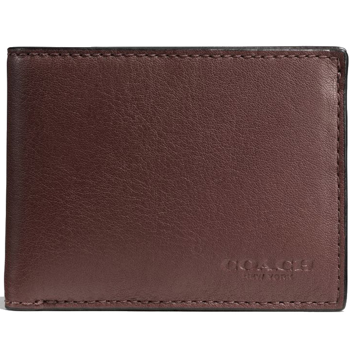 Coach Slim Billfold Id Wallet In Sport Calf Leather Mahogany Brown # F75016
